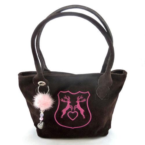 f2db65ad92b3e Dunkelbraune Trachtentasche Dirndltasche Leder mit pinker Stickerei Hirsch  und Herzanhänger