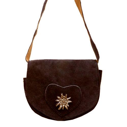 05209572fdd8c Kleine Trachtentasche Dirndltasche Umhängetasche mit Edelweiss Wild-Leder  dunkelbraun